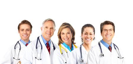 医師の聴診器に笑みを浮かべてください。白い背景の上の分離