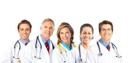 Smiling medical doctors with stethoscope. Isolated over white background Stock Photo