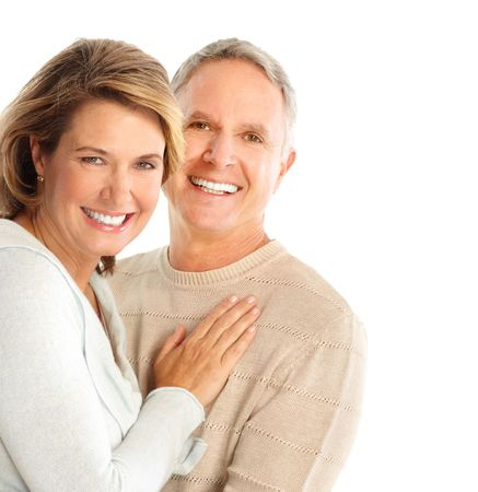 Happy seniors couple in love. Isolated over white background Stock Photo - 5955266