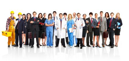 Large group of smiling workers people. Over white background Stock Photo