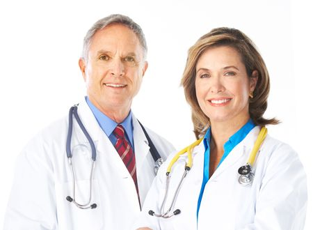 Smiling medical doctors with stethoscope. Isolated over white background Stock Photo - 5955272