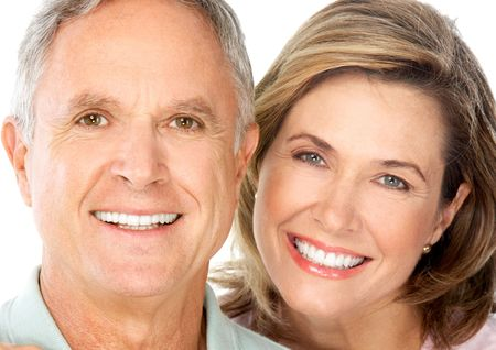 Happy seniors couple in love. Isolated over white background Stock Photo - 5955252