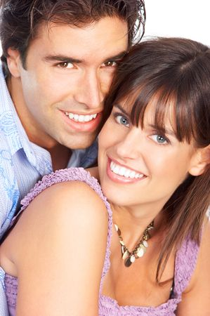 Happy smiling couple in love. Over white background Stock Photo - 5955259