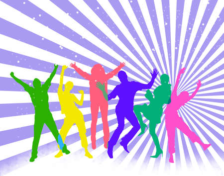 Colored silhouettes of happy jumping people.  photo