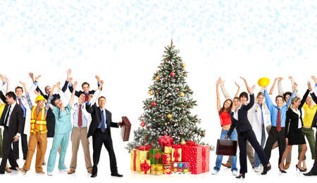 Happy workers people and Christmas tree. Over white background  photo