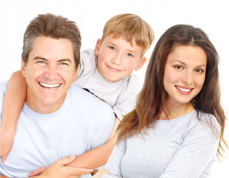 Happy family. Father, mother and boy. Over white background Stock Photo - 6024162