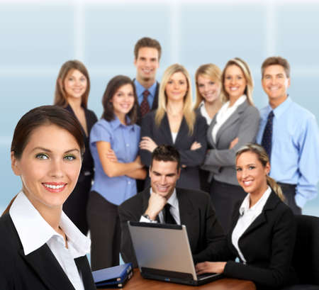 big smile: Group of young smiling business people.   Stock Photo