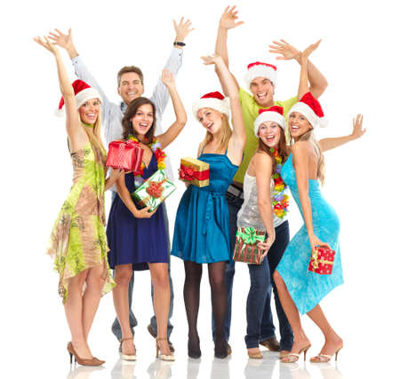 fiesta familiar: Feliz gente divertida. Navidad. Partido. Aislados sobre fondo blanco  Foto de archivo