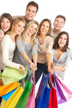 Happy shopping shopping. Isolated over white background  photo