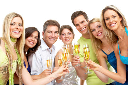 lucky man: Happy funny people with champagne. Isolated over white background