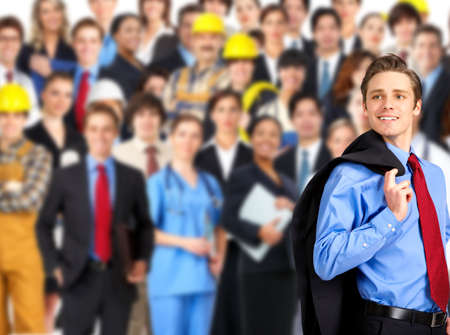 large group of smiling business people, doctors and workers Stockfoto