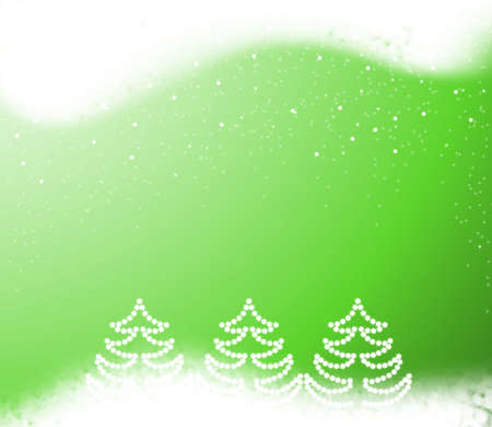 Christmas green background with snowflakes