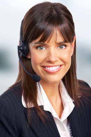 Beautiful  business woman with headset photo