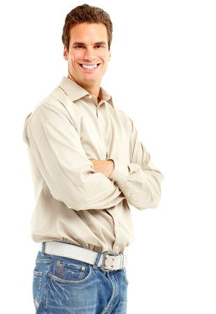 Beau homme souriant. Isolé sur fond blanc