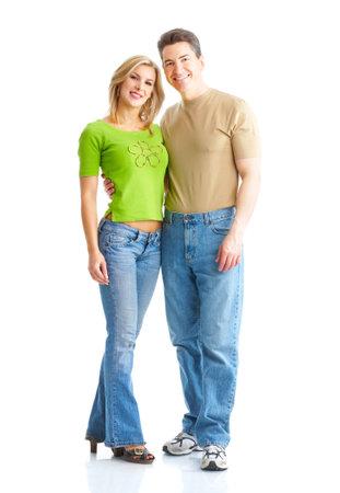 Happy sonriente pareja de enamorados. Sobre fondo blanco