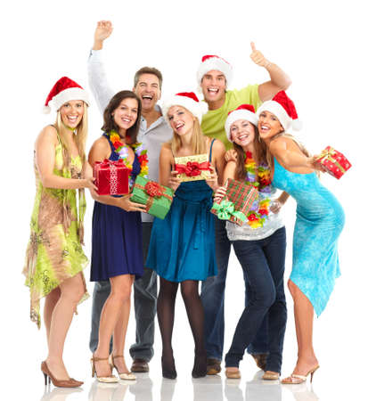 celebrate: Happy funny people. Christmas. Party. Isolated over white background