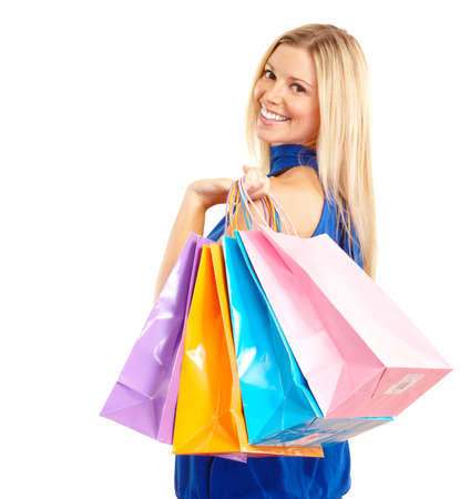 buying: Shopping happy  woman. Isolated over white background  Stock Photo