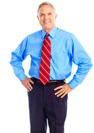 Smiling mature  businessman. Isolated over white background  photo
