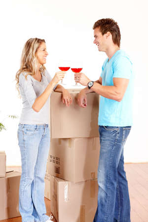 Young happy couple  moving into their new home  Stock Photo - 6111523