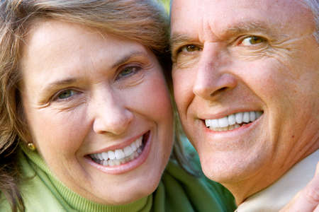 male senior adult: Happy elderly seniors couple in park Stock Photo