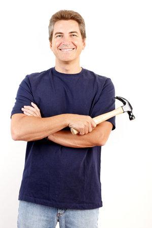 settler: Handsome man with a hammer.  Renovation