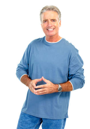 Smiling happy elderly senior man. Isolated over white background