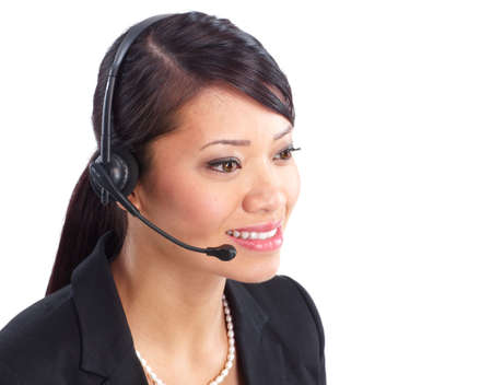 Beautiful  call center operator with headset. Over white background  版權商用圖片