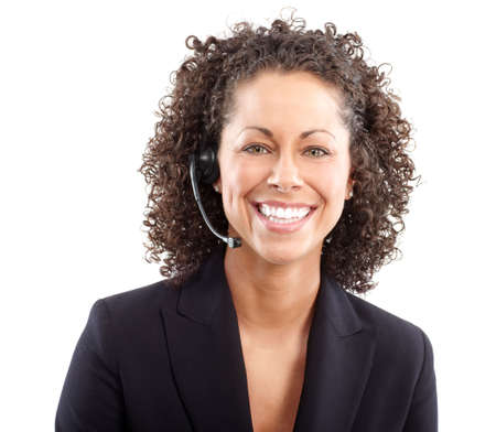 handsfree phone: Beautiful  business woman with headset. Over blue  background