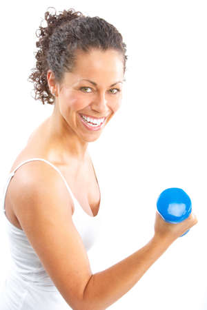 Woman, fitness, working out, exercise, health.  Isolated over white background Stock Photo - 6141594