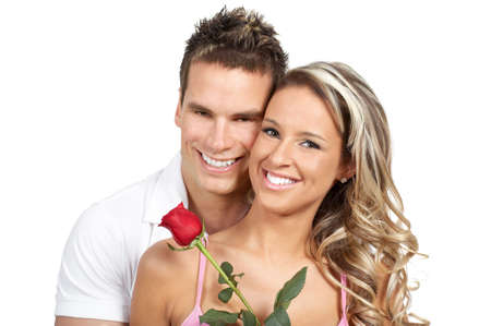 adult valentine: Happy smiling couple in love. Over white background