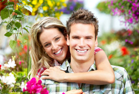 Young  happy smiling couple in love Stock Photo - 6177512
