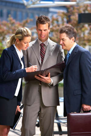 Business  people meeting in the downtown. 