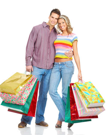 euphoria: Happy shopping people. Isolated over white backfround  Stock Photo