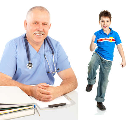 Smiling medical doctor and a boy. Isolated over white background