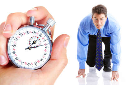 competitor: Mechanical stopwatch and businessman. Isolated over white background  Stock Photo