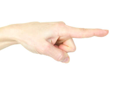 forefinger: Forefinger. Human gesture. Isolated over white background, sign, symbol  Stock Photo
