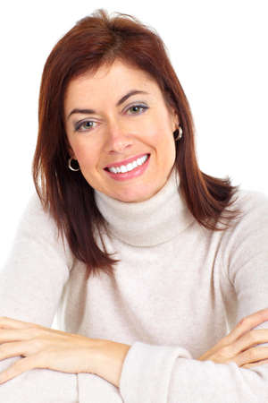 mature woman face: Beautiful smiling woman. Isolated over white background  Stock Photo