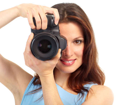 photo camera: Giovane donna con macchina fotografica. Isolato su sfondo bianco  Archivio Fotografico