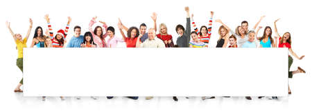 rozradostněný: Happy funny people. Isolated over white background