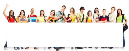 estudiantes: Gran grupo de estudiantes sonrientes. Aislados sobre fondo blanco