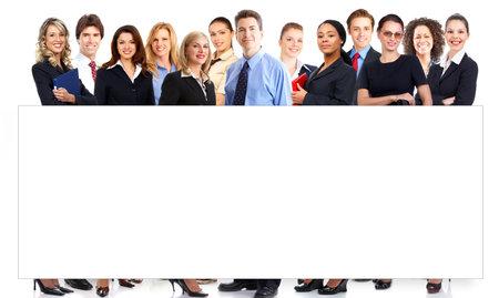 werk: Grote groep jongeren Glimlachende zaken mensen. Via de witte achtergrond Stockfoto