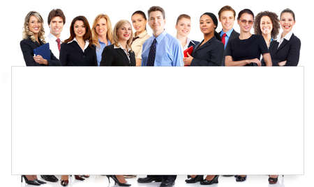are working: Large group of young smiling business people. Over white background