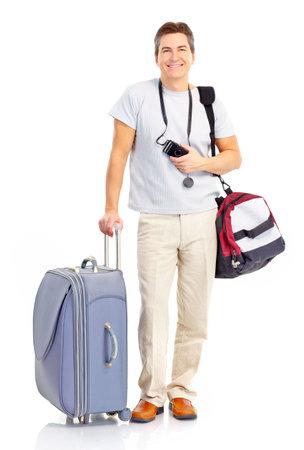 Happy handsome tourist man . Isolated over white background Foto de archivo