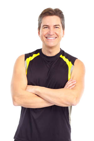 muscularity: Smiling mature strong  man. Isolated over white background