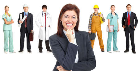 are working: Businessman, builder, nurse, architect. Isolated over white background