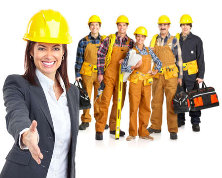 building worker: Industrial workers people. Isolated over white background