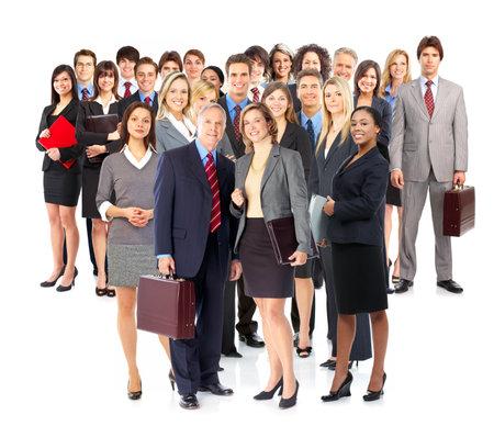 Groep van mensen uit het bedrijfsleven. Geïsoleerd op witte achtergrond  Stockfoto