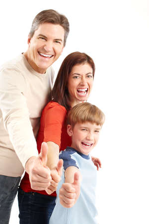 Happy family. Father, mother and boy. Over white background Stock Photo - 6352844