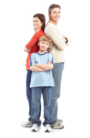 Happy family. Father, mother and boy over white background Stock Photo - 6352755