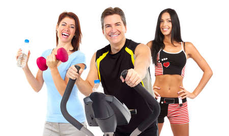 svelte: Smiling mature strong man and women working out. Isolated over white background Stock Photo